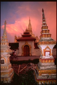 House stupas near Wat Vientiane, Laos