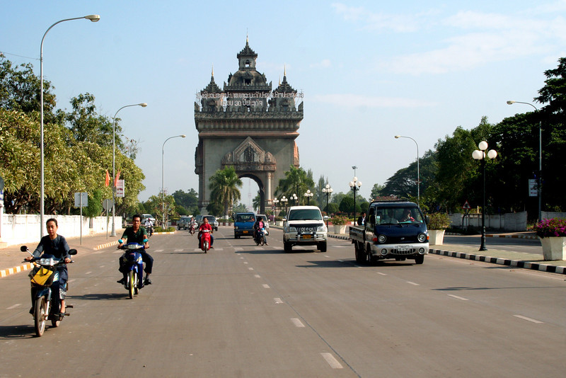 Patuxay (Victory Arch), Vientiane, viewed from Lane Xang Avenue.