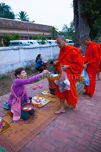 Feeding the monks in Luang Prabang