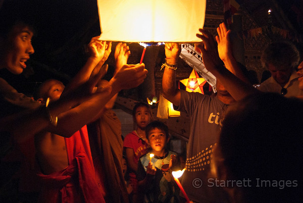 Festival of lights, hot air paper lantern being released