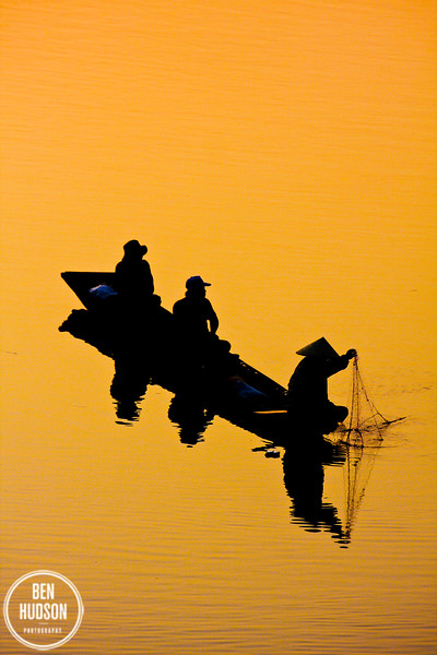 Fisherman at sunset<br /> Mekong river, Vientiane, Laos