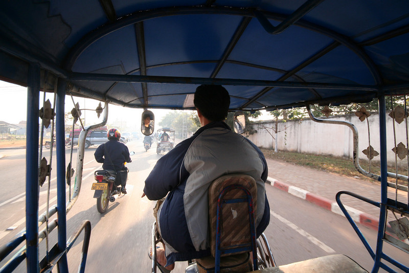 Peak hour traffic, from the interior of a Vientiane tuk-tuk.
