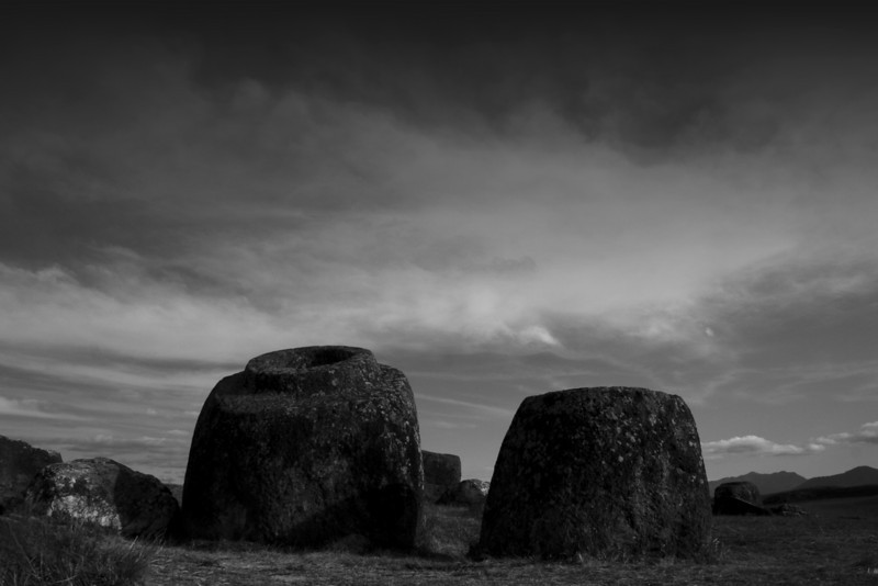 Megalithic jars at the Plain of Jars (Site 1), Phonsavan (B&W version).