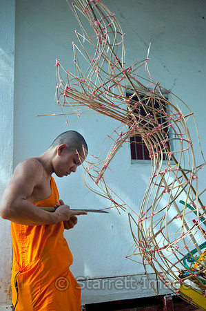 Monk working with minimal hand tools