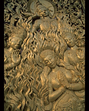 Four gold women in relief on Wat in Luang Prabang, Laos  16 x20""