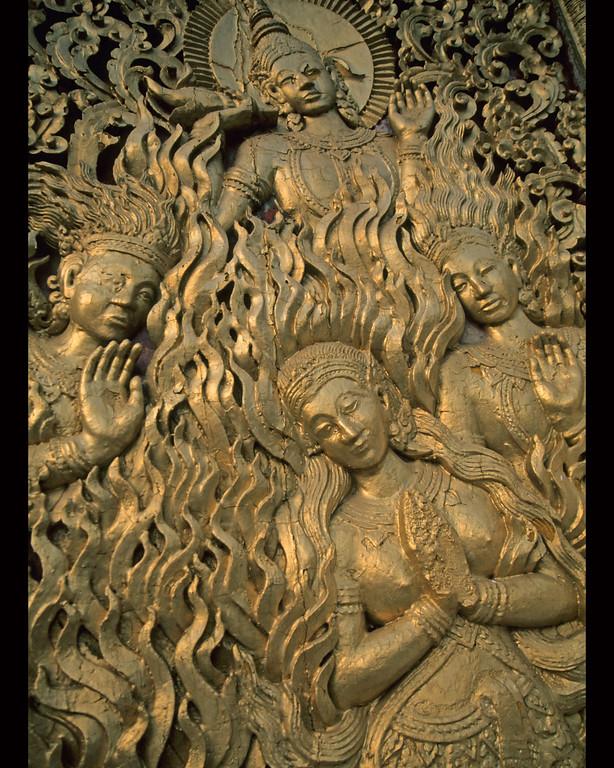 "Four gold women in relief on Wat in Luang Prabang, Laos  16 x20"""
