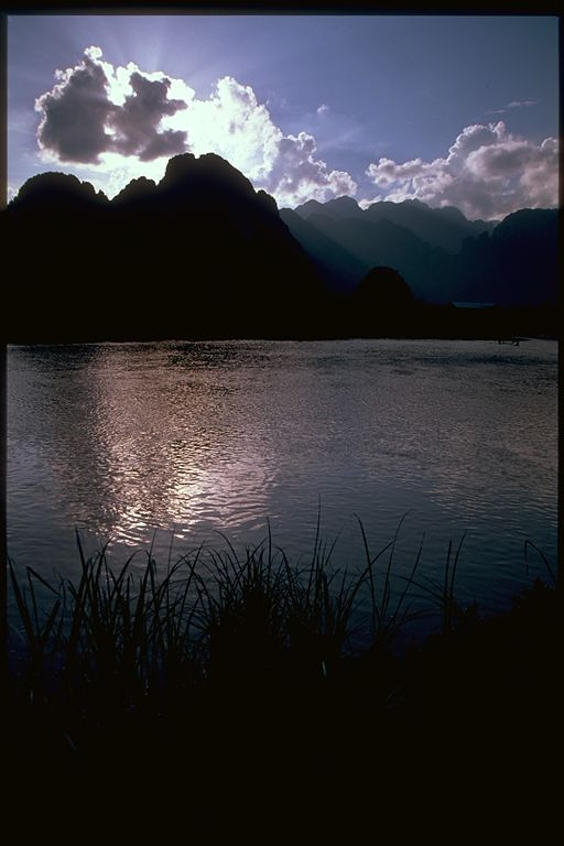 Vang Vieng mountain and river sunset, Laos