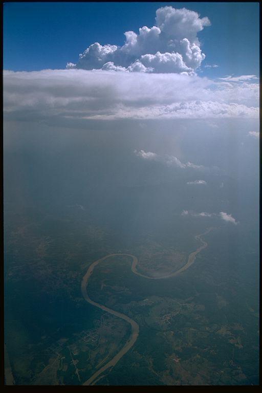 Ariel view of Mekong River, Laos
