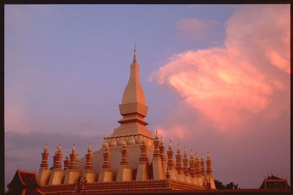 Sunset cloud over Wat  in Vientiane, Laos