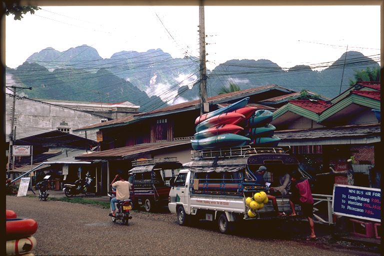 Morning rush in Vang Viene, Laos