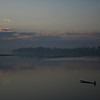 Misty morning on the Mekong at Vientiane, with Thailand on the far bank.
