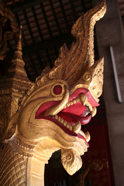 Naga head, from the Royal Burial Carriage at Wat Xieng Thong, Luang Prabang.