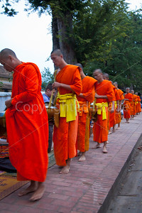Monks at Alms Giving Ceremony