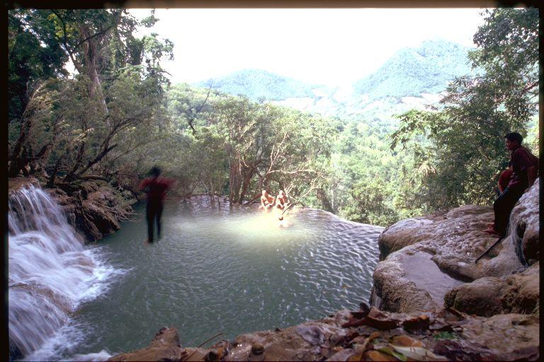 Waterfall view in Luang Prabang, Laos