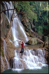Waterfall swingin front in Luang Prabang, Laos
