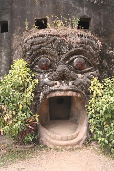Say ahhhh! Doorway, Buddha Park, Xieng Khuan.