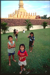 Kids outside Wat in Vientiene, Laos