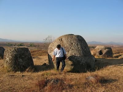 The astonishing Plain of Jars. No one really understands what they were for or how they got here. Wine-making? Funeral urns? Storage bins? It's a several-thousand-year-old mystery. The worst part of this country is that it is full of unexploded ammo from the Viet-Nam-war-era days, when it was the dumping ground for Thai-based or -fueling US pilots, who off-loaded their unspent bombs here from night runs over North Viet Nam, since Bangkok required them to land unarmed.