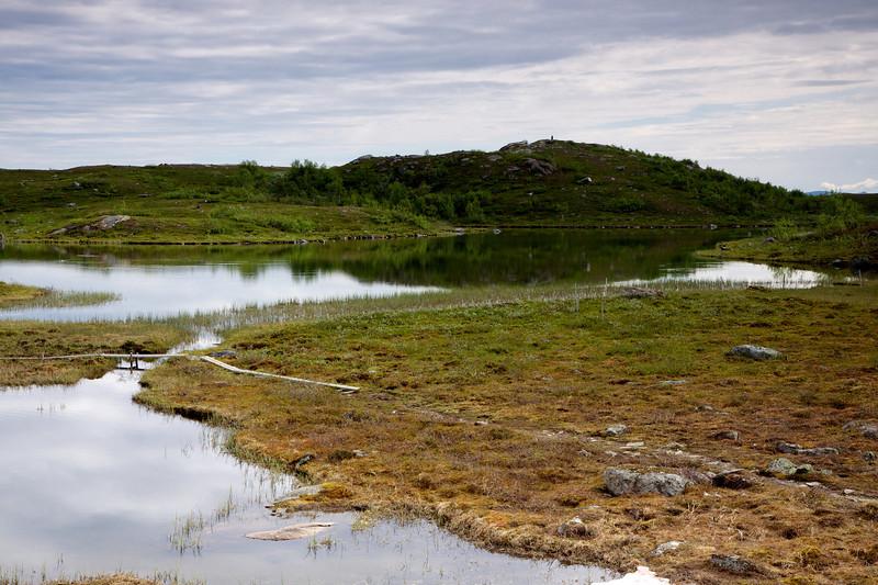 Ruovdatjjávrrie og Kungsleden ved Aigertstugan