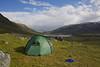 Udsigt mod Cunojávri fra teltplads ved Sealggajávri, Norway, Jul-2013