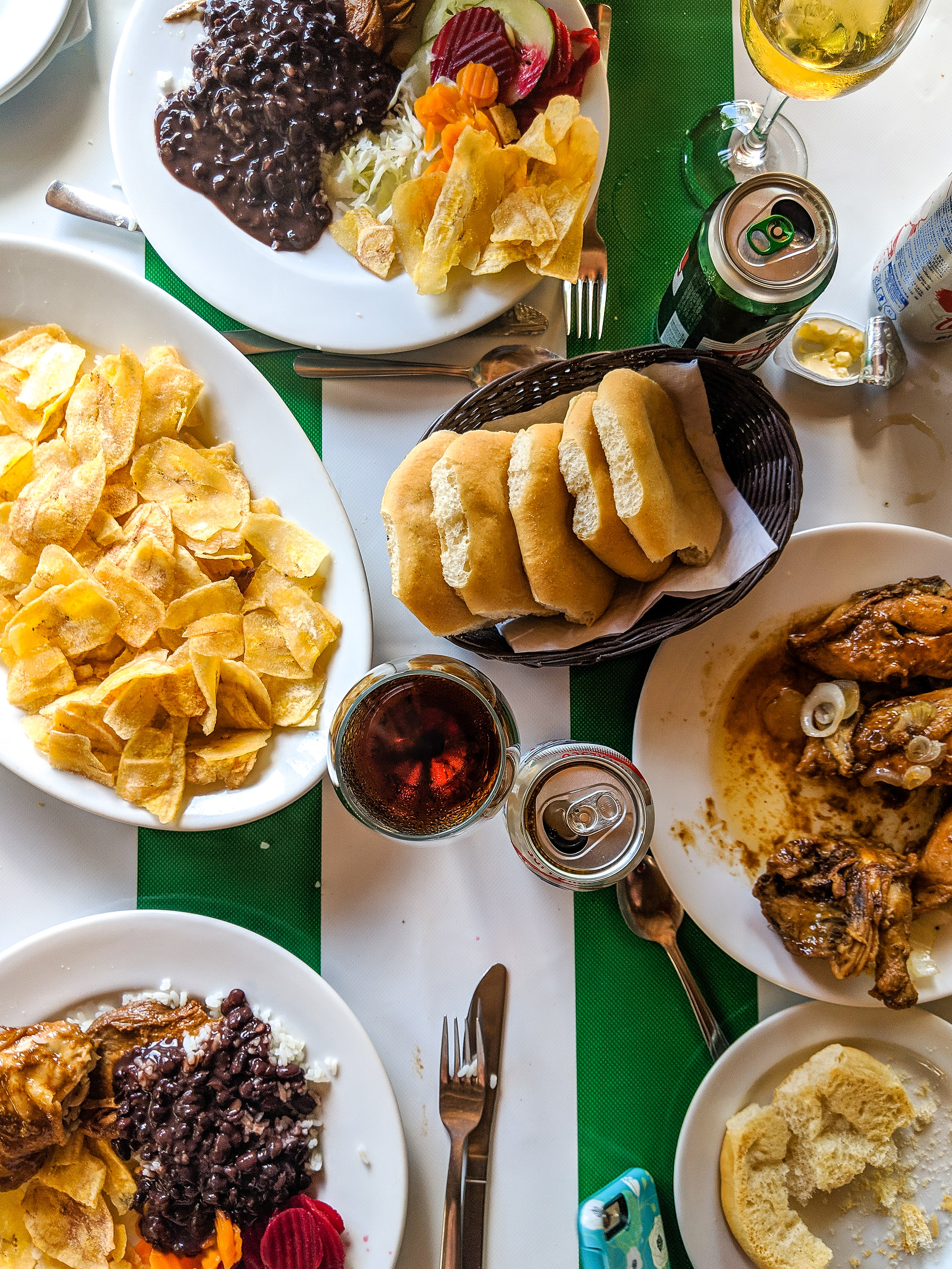 Traditional Cuban food on a table.