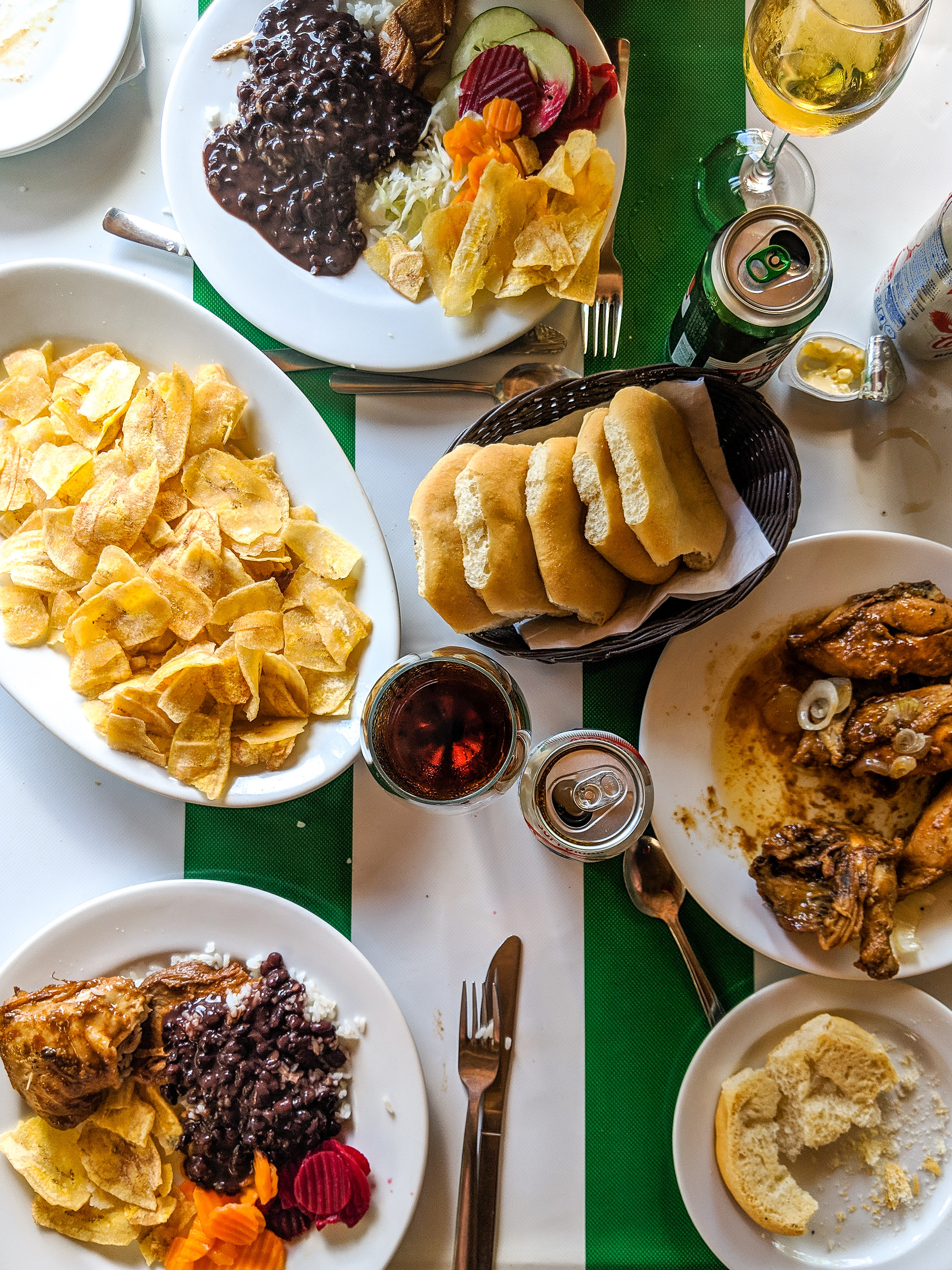 Table of food in Santa Clara Cuba