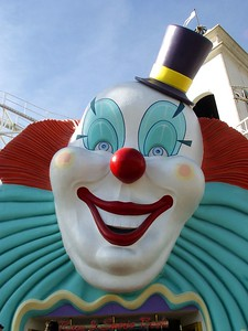 Clown on strip in front of Excalibur Hotel