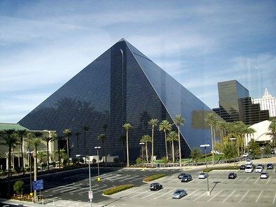 The Luxor Hotel (taken from the tram that runs from Mandalay Bay to Excalibur)
