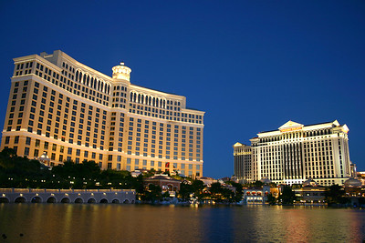 Evening view of the Bellagio with Caesar's Palace next to it