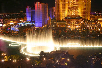 View of the Bellagio fountain show from our room