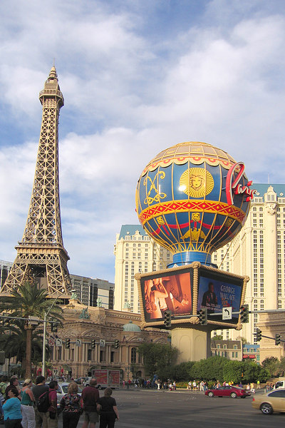 After fliyng back to Vegas, we walked a bit on the strip.  This is a view of the Paris Las Vegas hotel from the crosswalk by the Bellagio (where we stayed at last year).