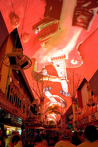 The Fremont St. Experience includes a sound and light show projected onto a five-block long screen ovrehead.
