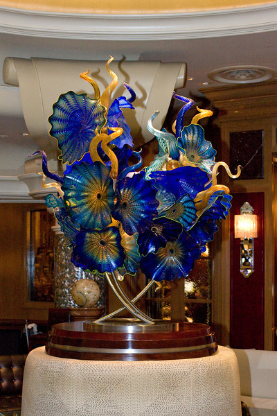 Chihuly glass art in the piano and wine bar of the Bellagio in Las Vegas.