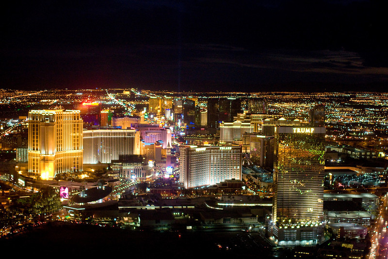 Las Vegas by air at night.  In this shot in no particular order are Trump Tower, Treasure Island, Bellagio, The Venician, Caesar's Palace, Paris, Mandalay Bay, and others.