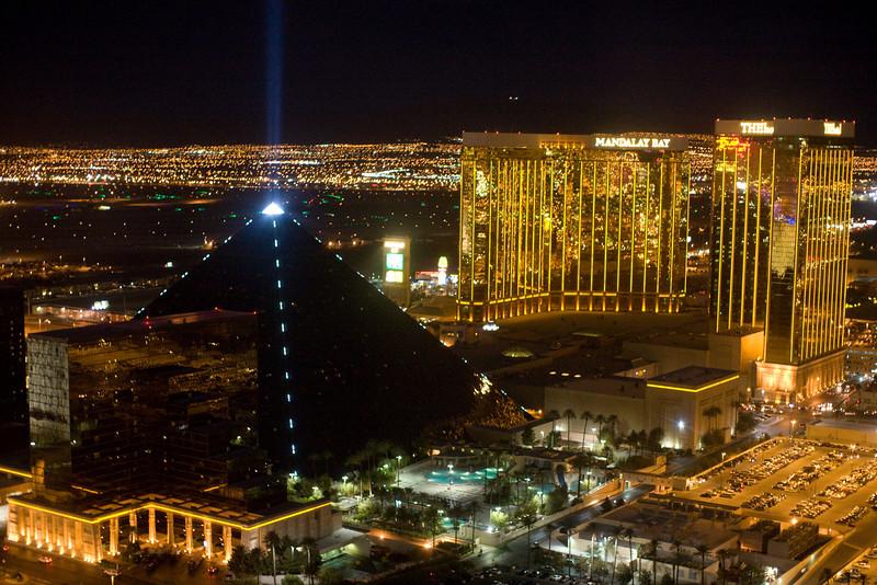 Las Vegas by air at night.