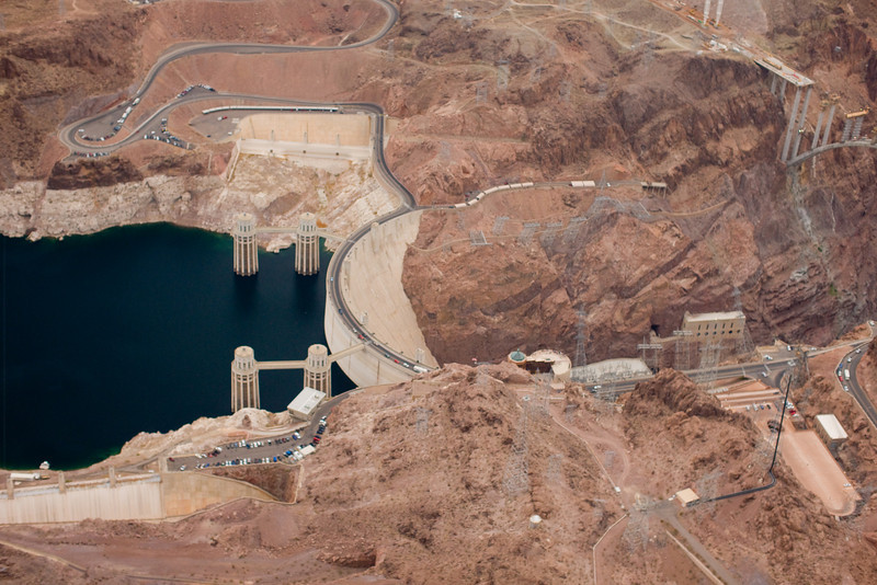Hoover Dam showing construction of a new bridge that will allow highway traffic to bypass the dam.