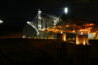 At Hoover Dam a new bridge is being built over the river below the dam.  Once complete, traffic will no longer drive over the dam. Thought this was an interesting nighttime photography opportunity.
