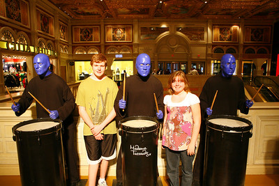Aaron & Kyra with the Blue Man group inside the Venetian hotel.  As you can see, these are also wax characters from Madame Tussaud's
