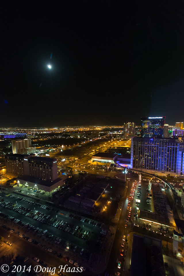 High Roller over Las Vegas and Moonrise over City