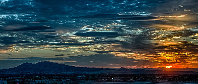This sunrise photo was taken from our hotel room at the TheHotel at Mandalay Bay
