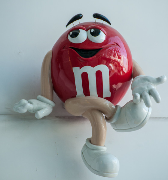 There is Mr M&M hanging out on the wall