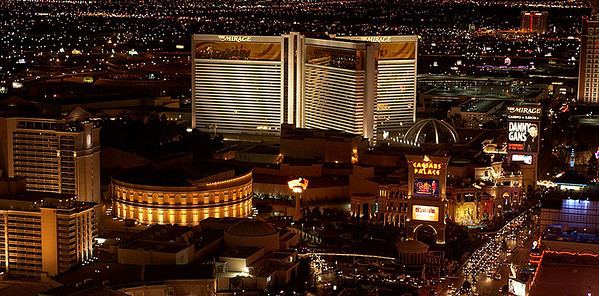 "The Mirage and Caesar's Palace from the ""Eiffel Tower""."