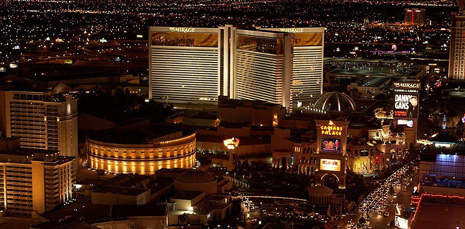 """The Mirage and Caesar's Palace from the """"Eiffel Tower""""."""