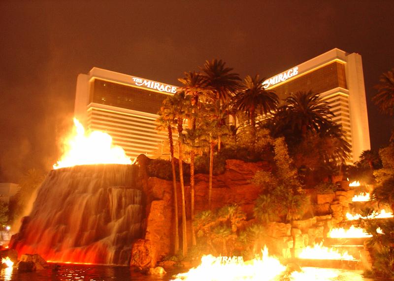 volcano display outside 'Mirage'