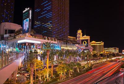 A busy Las Vegas Boulevard at night.