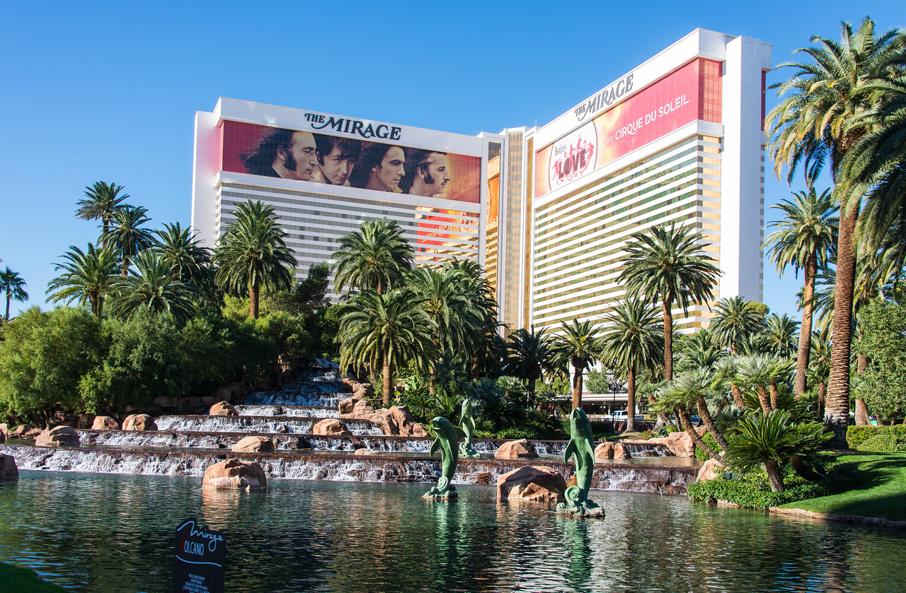View of the Mirage with Cirque du Soleil's LOVE Beatles Tribute advertisement.  It was a great show!   Las Vegas, NV - November 2014