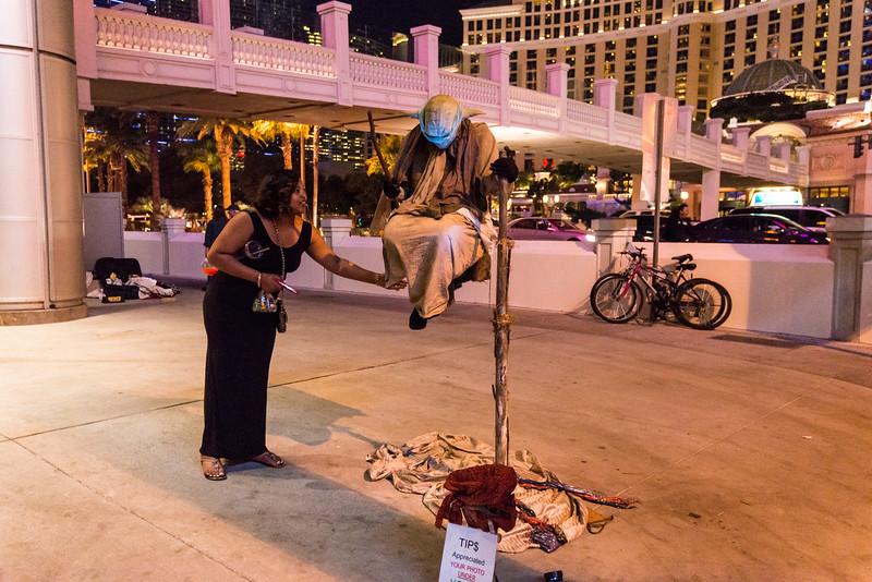 Street performer on Las Vegas Strip, November 2014