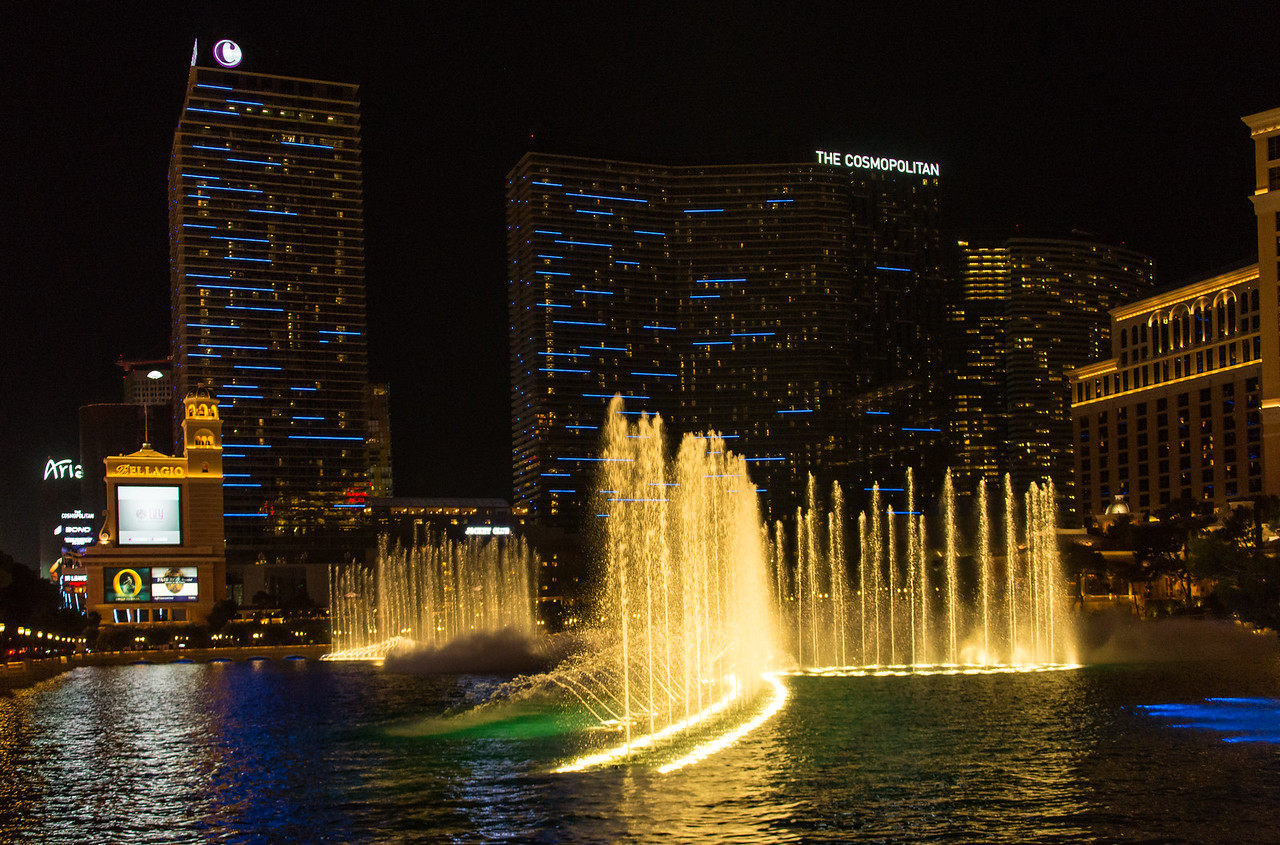 View of Bellagio water show on Las Vegas Strip, November 2014