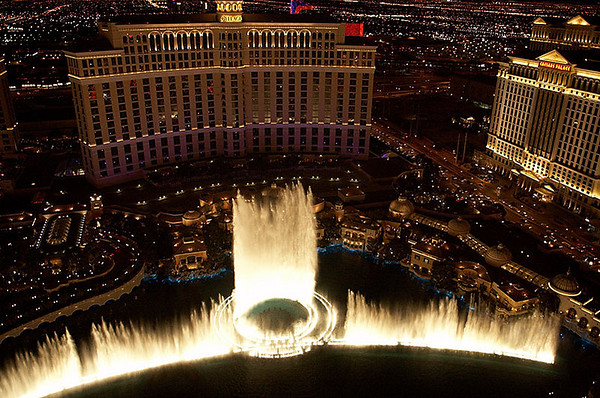 The fountain show in front of the Bellagio.