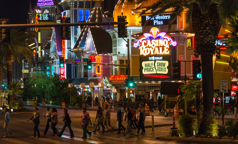 Tourists on the Strip in Las Vegas, November 2014